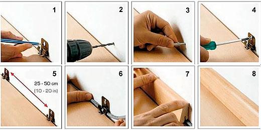 Монтаж плинтуса без кабель-канала с помощью специальных креплений