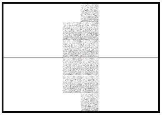 Последующие потолочные плитки расположите рядами