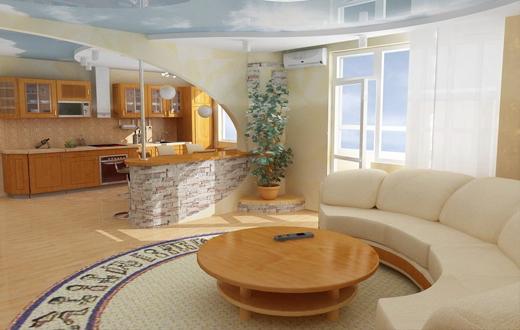 Как совместить кухню и гостиную, делая отделку кухни своими руками
