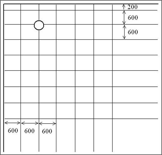 Разбейте сетку с ячейками 600 мм x 600 мм