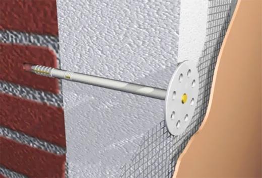 Монтаж утеплителя к поверхности стены при помощи пластмассового дюбеля-зонтика