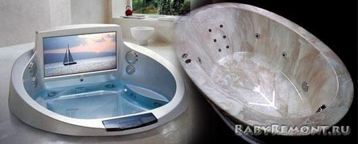 Основные виды ванн для ванной комнаты